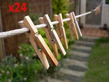 24 Large 8cm Wooden Pegs Clothes Hanging Washing Line,Airer,Dryer,Quality Spring