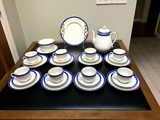 19th Centruy 28 Pc Ironstone Coffee Tea Service for 8 Blue Band Gold Trim White