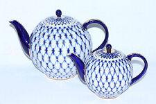 RUSSIAN Imperial Lomonosov Porcelain Two Teapot Small and Big Cobalt Net 22kGold