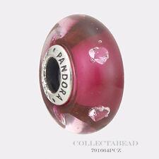 Authentic Pandora Silver Murano Cerise Heart CZ Murano Bead 791664PCZ