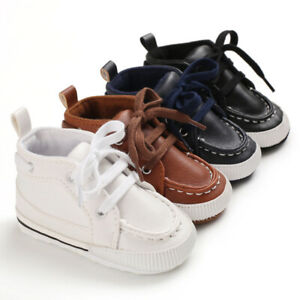 Gift Newborn Baby Boy Pram Shoes Infant Laces Booties Toddler PreWalker Trainers