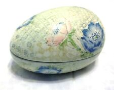 Vintage Trinket Box ~Egg~ Lotus Flowers by Fitz Floyd Collectible Porcelain