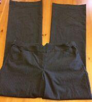 Express Womens 4 Editor Pants Dark Gray Pink Pinstripes Stretch Career Dress B34