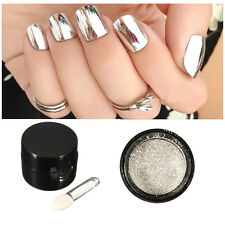 Silber Nagel Pigment Puder Pulver Mirror Powder Nail Art Chrome Glitter  Beauty