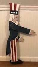 "Vintage Hand Made Americana Primitive Folk Art Wood Uncle Sam Garden Whimsy 33"""