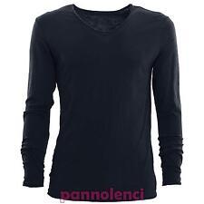 Suéter de hombre manga larga camiseta algodón sin pegar V básico nueva 7006
