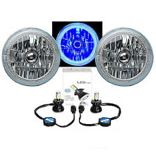 "7"" Blue COB LED Halo Angel Eye Headlights 6K 4000Lm LED Light Bulb Headlamp Kit"