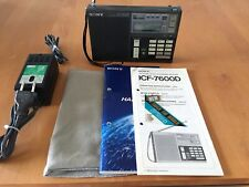 Sony ICF-7600D FM/LW/MW/SW PLL Synthesized Receiver with AC adapter, cover,