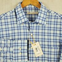 NWT PETER MILLAR FEATHERWEIGHT Large Mens Blue Plaid Button Up Front Shirt $135