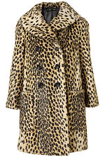 New gorgeous TOPSHOP leopard vintage faux fur coat UK 10 in Multi