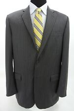 Burberry London 2 Btn Suit Charcoal Gray Pinstripe Wool Side Vents 42 L x 35W