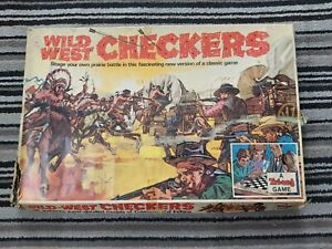 Vintage Wild West Cowboys & Indian Checkers Board Game Triang Games 1970s Rare