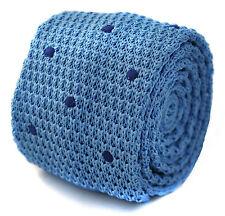 tricoté mince bleu clair avec marine cravate pointillée pour hommes par