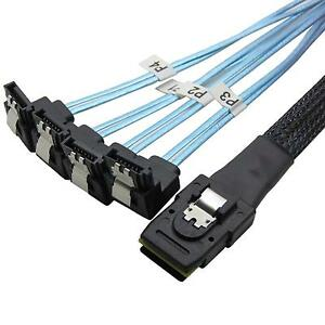 0.5M Mini SAS 36P SFF-8087 to 4 SATA 7Pin 90 Degrees Target Hard Disk Data Cable