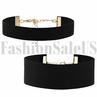 Fashion Gothic Black Wide Retro Choker Collar Bib Necklace Charm Pendant Gift