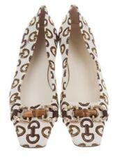 GUCCI AUTH $799 Women's Brown Beige Horsebit Square Toe Flat Shoes Size 6.5