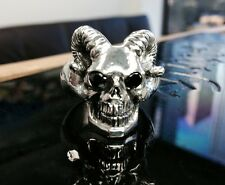 Men's Silver Skull Black Diamond Ring With Ram Horns By Sacred Angels