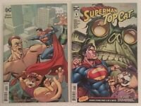 SUPERMAN TOP CAT #1 SET OF REGULAR & VARIANT HANNA BARBERA SET 2 COMICS