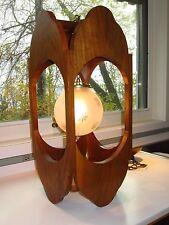 Genuine Mid-Century Modern MCM Solid Walnut Pendant Ceiling Light Lamp Fixture