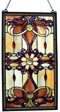 Stained Glass Window Victorian Tiffany Style, Hand Cut Ripple Glass w/Chain, 26H