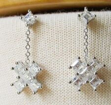 Princess Cut Cz Dangling Earrings Hopechestjewelry - Silver Tone Cross Shape