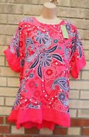 MADE IN ITALY PINK BLUE FLORAL SHORT SLEEVE BAGGY TOP BLOUSE T SHIRT TUNIC 16 XL