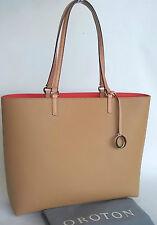 Brand New Oroton Estate Tote Handbag Bag Tan O Charm Saffiano Leather RRP$325