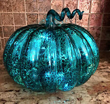 TEAL BLUE MERCURY GLASS LED LIGHTED PUMPKIN.  HALLOWEEN THANKSGIVING. LARGE 8""
