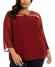Style & Co Eyelet Red Swiss Dot Velvet Velour Yoke Top Blouse Plus Size 2X NEW