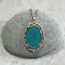 Teal Handpainted Cameo Pendant Necklace Jewelry Antique Silver