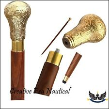 Vintage Solid Brass Handle Victorian Knob Wood Walking Stick Cane