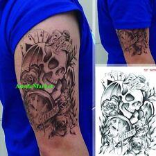 1 x temporary tattoo stickers skull clock playing cards body art fancy dress new