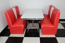 American Diner Furniture 50s Style Retro Booth Table & Red Nashville Booth Set