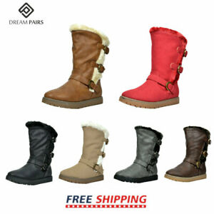 DREAM PAIRS Kids Girls Toddler Faux Fur Lined Fashion Mid Calf Winter Snow Boots