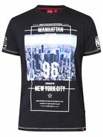 D555 DUKE MENS MANHATTAN PRINT T-SHIRT NEW YORK CITY BLACK S M L XL XXL 600207
