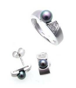 Jewelry Set Ring Earrings Beads Brilliant Real White Gold 375 Gold Diamond