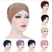 Frauen Muslim Elastisc Cross Bonnet Hijab Turban Hut Chemo Cap Kopftuch Headwrap