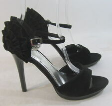 "new Blacks 5""high Stiletto heel open toe back frill  sexy  shoes SIZE 9 p"