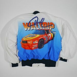Vintage Darrell Waltrip Jacket Adult XL White Blue Nylon Snap Button Nascar Mens