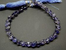 "Natural Blue Iolite Faceted Onion Briolette Teardrop Gemstone Beads 8"" Strand"