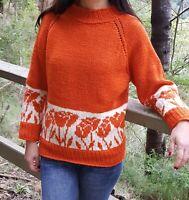 Knitting Pattern - Tulip Flower Top Down Sweater Seamless Knitting Jumper