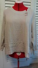 New HABITAT tan  Medium Large blouse side button pullover