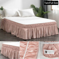 Twin Full Bed Skirt 16'' Drop Dressing Dust Ruffle Wrap Around Bed Pink Solid