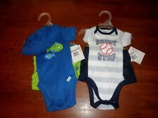 Baby Boy Size Newborn GERBER Onesie Sets 3 Piece Lot Of 2 BRAND NEW! Fish/Sports