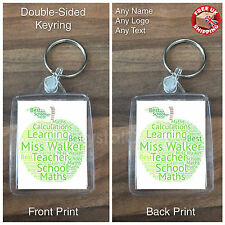 Personalised Custom Photo Gift Keyring -  Apple Teacher Present Word Cloud Gift