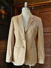 Womens Beige Camel Beige Suede-Like Blazer Jacket Patch Pockets Vintage Size M