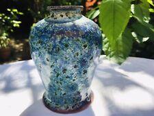 Cobridge Pottery Vase High Fired Ruskin Style Glaze Effect Aqua Blue Green 12cm