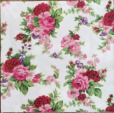 2 single paper napkins for Decoupage Crafts or Collection Shabby Pink Flowers