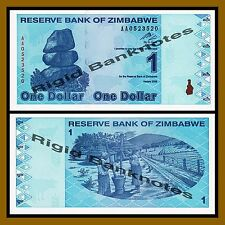 Zimbabwe 1 Dollar, 2009 P-92 Revised Trillion Unc