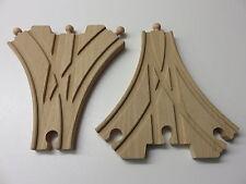 1 Paar 3-fach Weichen für Holzeisenbahn passend zu Brio, Eichhorn usw.